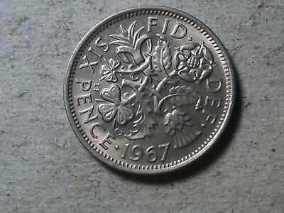 Great Britain Sixpence 1967 6 pence   Wedding coin gift . young queen. BU toned