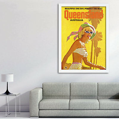 Vintage Travel Poster, Queensland Beach Poster Print, FREE Shipping Australia