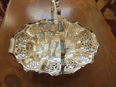 Antique Ornate Pierced Silver Plate Bread/brides Basket With Swing Handle