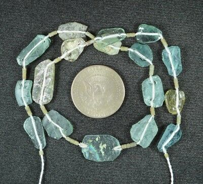 Ancient Roman Glass Beads 1 Medium Strand Aqua And Green 100 -200 Bc 898