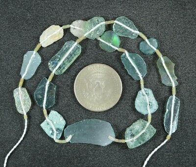 Ancient Roman Glass Beads 1 Medium Strand Aqua And Green 100 -200 Bc 899