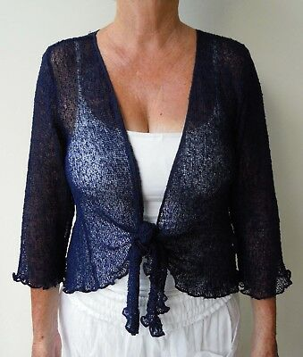 1A158 NAVY  LADIES SHRUG BOLERO CARDIGAN 3/4 SLEEVE size 8 10 12 14 16  NEW