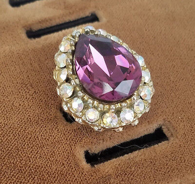 Large Vintage Purple Tear Drop Rhinestone Adjustable Ring AB Accent Stones
