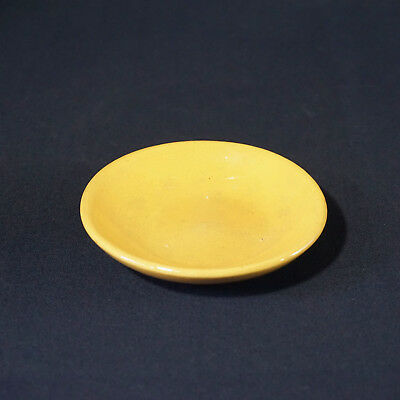 Old Yellow Ware Butter Pat Miniature Plate Dish Rare Antique Unknown Maker