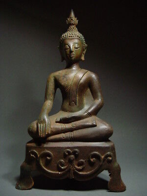 ANTIQUE BRONZE MEDITATING LAO BUDDHA, SACRED TEMPLE RELIC. LAOTIAN ART 19/20th C