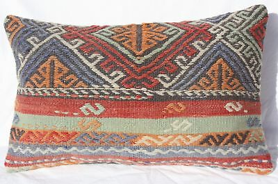 "TURKISH KILIM RUG LUMBAR PILLOW 24""x15"", GEOMETRIC LUMBAR KILIM CUSHION COVER"