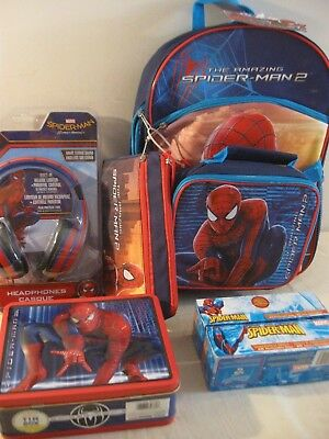 Spider-Man Items - Headphones, Backpack W/ Lunchbag & Pencil Case, Tin Box