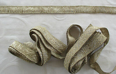 Vin. Silver Metallic Trim Blossom Leaf Design Nice Weave Great Patina French