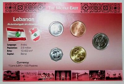 Set of 5 Lebanon Uncirculated Coins 1996-2006 With Information Card