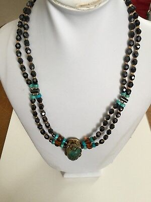 Egyptian Carved Scarab Beetle Crystal Necklace Vintage EUC