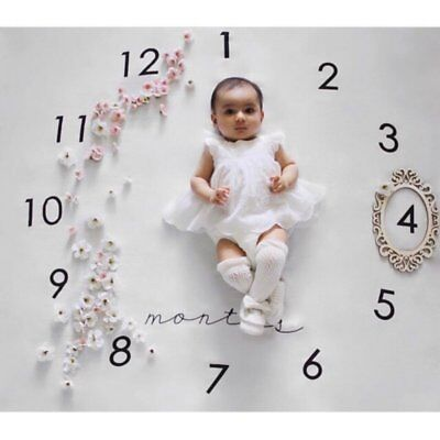 Newborn Baby Boys Girls Monthly Growth Milestone Blankets Photography Props US