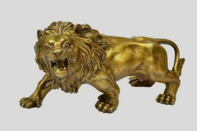Chinese Collectible Brass Handwork carved Lion statue