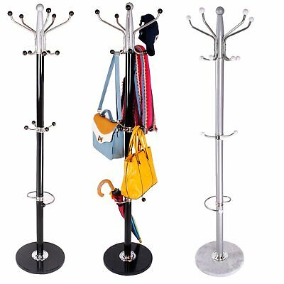 Traditional Style Metal Coat Clothes Hat Umbrella Stand Rack Hanger Marble Base