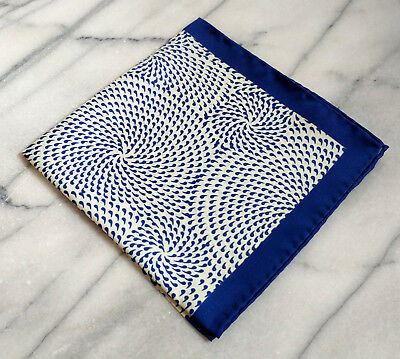 Silk Mens Pocket Square-Navy Pocket Square with Blue and White Geometric Design