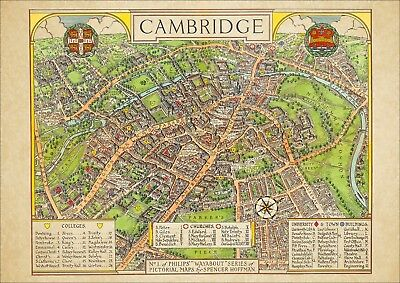 Cambridge in 1936 - old pictorial map - modern reproduction - A2 size