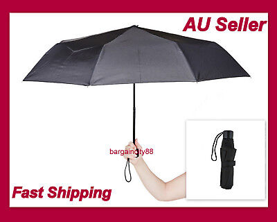 New Korjo Sml Pocket Lightweight Compact Folding Umbrella Black Mens Unisex UMOW