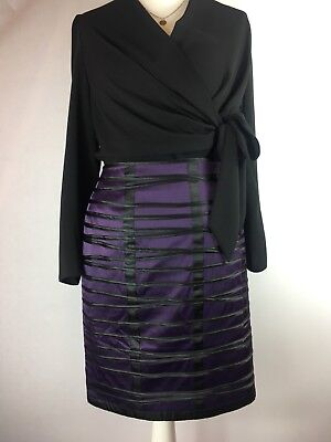 7bbe004cba Ladies PHASE EIGHT Skirt Size 14 Purple Satin Straight Pencil Wiggle Black