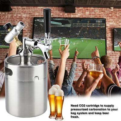 Portable Mini Edelstahl Fass Home Brewing Craft Beer Dispenser mit Zapfhahn 2L