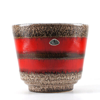 Ü-KERAMIK UEBELACKER Stripy West German Pottery Fat Lava Planter Pot Blumentopf