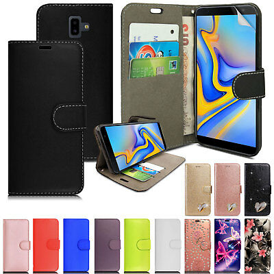 For Samsung Galaxy J6 Plus - Leather Wallet Flip Case Cover + Screen Protector