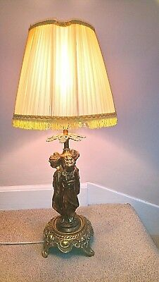 Large Vintage Gilded Metal & Brass Three 3 Graces Table Lamp