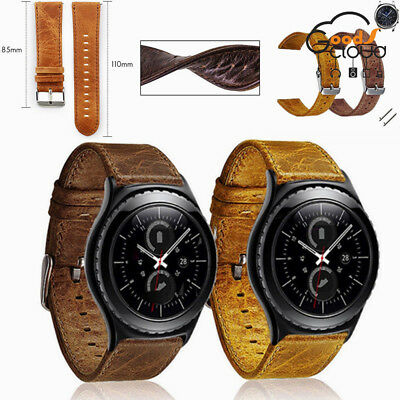 For Samsung Gear S3 S2 Classic Frontier Vintage Genuine Leather Strap Watch Band