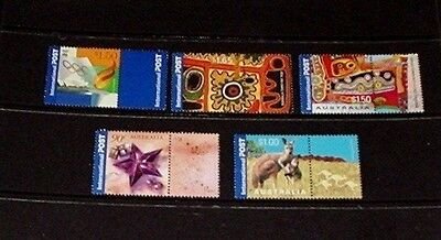 Australian International Post stamps with tabs - all mint unhinged