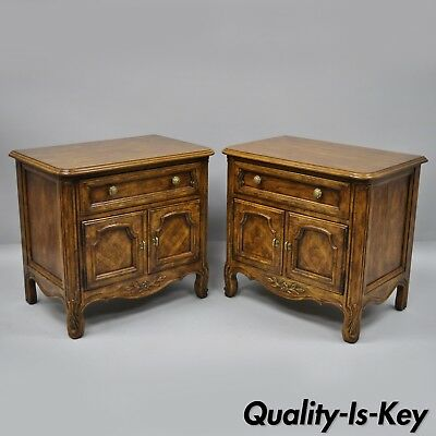 Pair Drexel Cabernet Classics Country French Provincial Nightstand Bedside Table