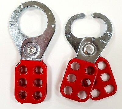 Lockout Hasp steel, red plastic coated, scissor action 25mm dia jaws 38mm MLH5/6