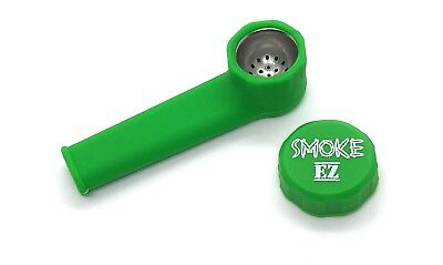Official Smoke EZ Silicone Smoking Pipe with Cap for Smoking on the Go. Green
