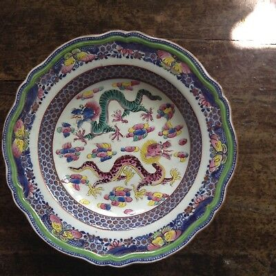 Chinese Qianlong 18th c Plate with Dragons