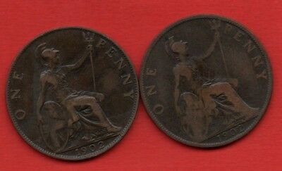 1902 LOW TIDE & HIGH TIDE, EDWARD VII PENNY COINS.  2 x PENNIES.