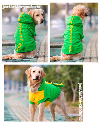 Medium Large Dog Green Dinosaur Costume Party Clothes Outfit Hoodie Coat Jacket
