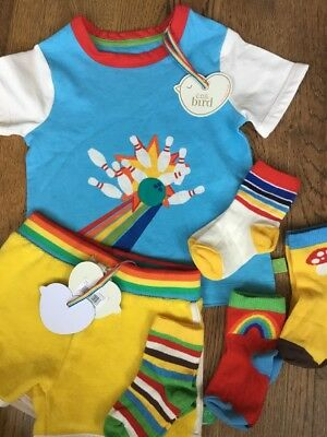 Little Bird By Jools Oliver Retro T Shirt / Top & Shorts & 4 Pair Of Socks 9-12