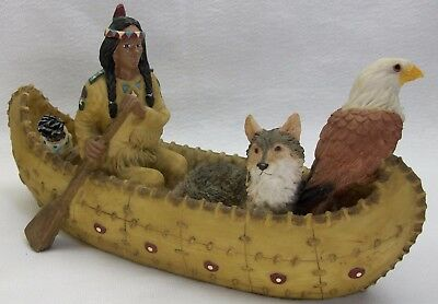 Youngs Native American Indian Canoe Wolf and Eagle Cast Resin Figurine 9.5""