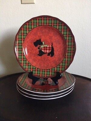 FOUR Terrier Scotty Dog 222 Fifth Plaid Christmas Salad Plates Excellent 9""
