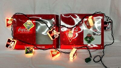 Lot Of 2 Sets Of COCA-COLA 10 Piece Light Set With Cord Indoor / Outdoor