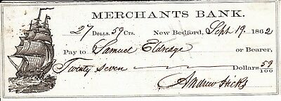 1862 cancelled Merchants Bank check, New Bedford, MA, whaling ship vignette