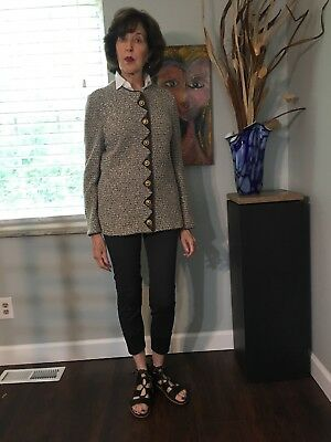 St. John Collection by Maria Gray Jacket 8 leather trim