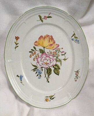 """Alex & Ivy Large Ceramic Floral Oval Platter Made in Portugal 15.5"""" x 13"""" Lovely"""