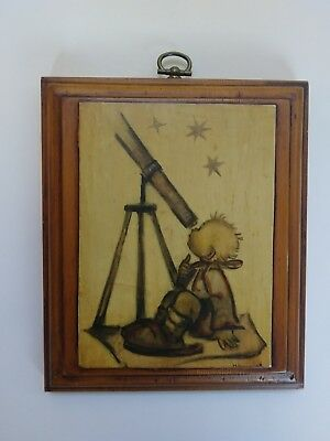 Signed Vintage Hummel art on wood plaque. Very unique & beautiful baby telescope