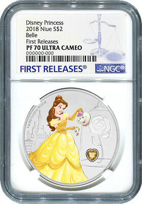 2018 Disney Princess With Gemstone - Belle - Ngc Pf70 First Releases - W/ogp