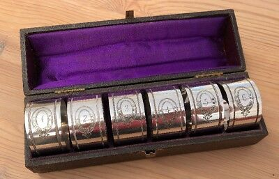A Set Of 6 Antique Vintage Cased Silver Plated Numbered Napkin Rings