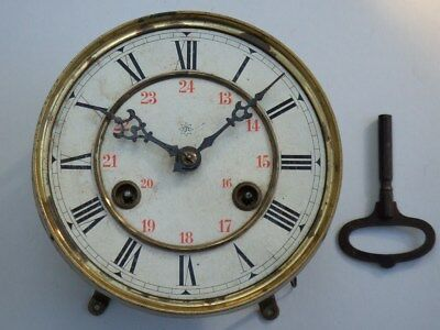 Antique German Junghans Clock Face, Hands & Movement For Spares & Repair + 9 Key