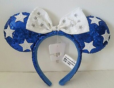 *NWT AUTHENTIC DISNEY BLUE STARS MINNIE MOUSE SEQUINED BOW HEADBAND 4th OF JULY