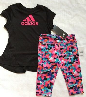 Adidas Baby Girls 2T Short Sleeve Tee and Capri Set Toddler Pink Outfit Set NEW