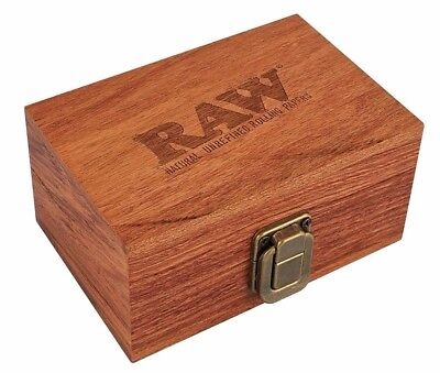 RAW Maple Wood Rolling Paper Storage Box w/ Magnetic Stash Limited Edition New