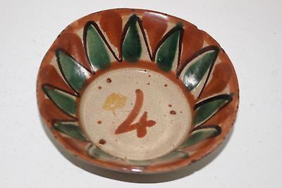 "Antique Hand Painted/made Mexican Primitive Majolica Redware Pottery 6-3/8"" Bowl"