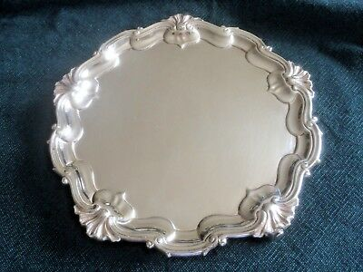 Solid Silver Edwardian Waiter or Drinks Tray, London 1902, D & J Wellby, 329g