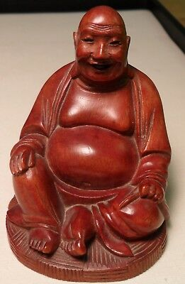 "Vintage Chinese Hand Carved Wood Buddha Figurine 3"" Finely Detailed"